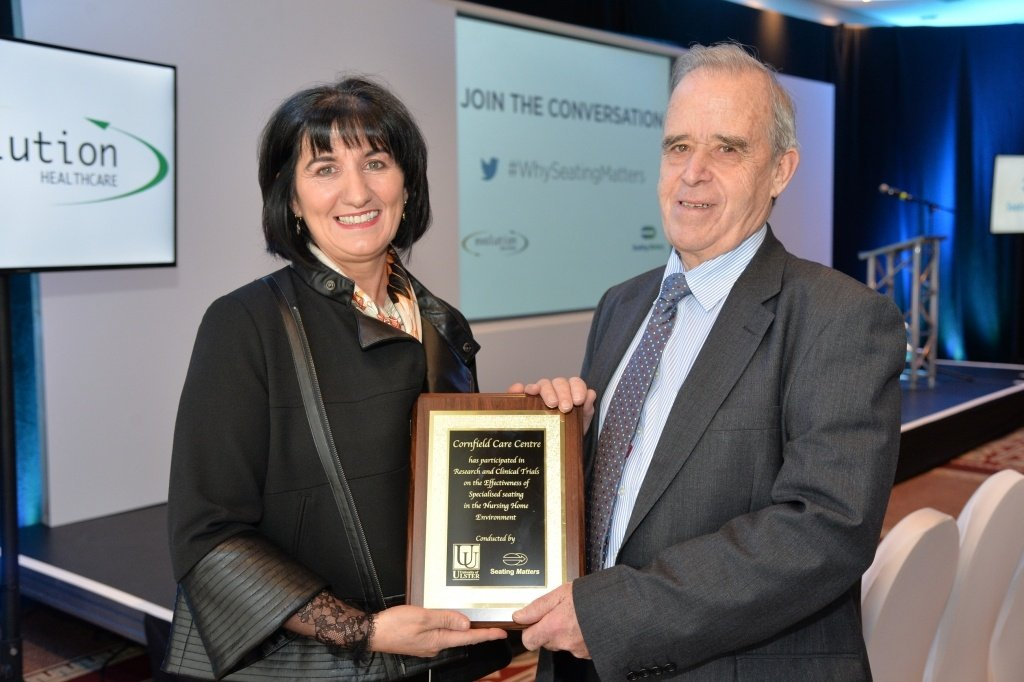 Martina Tierney, Seating Matters presents Jervis Nutt the plaque for participating in the life changing research project
